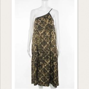 CYNTHIA CYNTHIA STEFFE BROWN ASYMMETRICAL DRESS